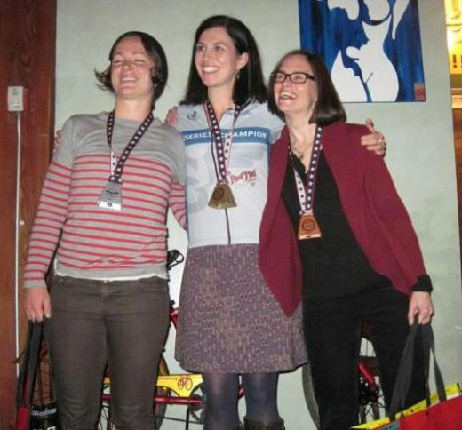 Carla Brock and Adrienne Moore on the Cat 4 podium