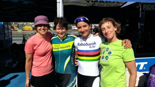 TGHers Sharon, Jadine and Karen with world champion (and Liv-sponsored) Marianne Vos.